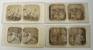 4 Antique Tissue Tinted Stereoview Cards with Pin Holes, Family, Drawing Room