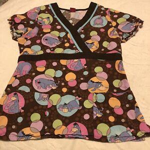 Disney Eeyore Womens Small Brown Multi Color V-Neck Short Sleeve Scrub Top