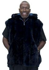 """Man's Navy Blue dyed Mink Sections Fur 32"""" Zip Vest with Hood – size 3XL"""