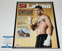 BOXER OSCAR DE LA HOYA HAND SIGNED 11x14 PHOTO 1 BECKETT COA GOLDEN BOY CHAMPION