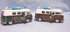 TOYS Volkswagen Bus Pair 1962 Diecast Surf Board Pull Back Action Kinsmart 1:32