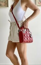 Authentic LADY DIOR MINI Nano RARE SIZE Cross Body Leather Cannage Purse Bag Red