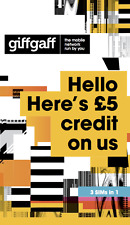 GiffGaff Sim Card - Pay As You Go Sim Card with Credit - £5 FREE SPECIAL OFFER