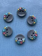 6 Charming  Grey  Hand Painted Flowers Vintage Czech Glass Buttons  - 1.3cm