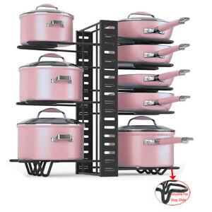 Pot and Pan Organizer for Cabinet, Adjustable 8 Non-Slip Tier Pot Organizer Rack