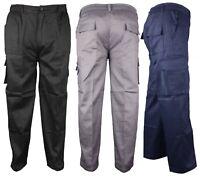 Mens CF Trousers Elasticated Cargo Combat Multi Pocket Work Pants Bottoms Bottom