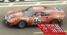 Decals Ferrari Dino 246 GT Le Mans 1972 46 1:32 1:43 1:24 1:18 slot calcas