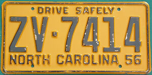 1956 North Carolina  DRIVE SAFELY   license plate  GAS OIL SIGN