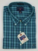 Saddlebred Men'sTurquoise Plaid Long Sleeve Button Down Casual Shirt Sz XXL NEW