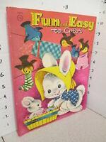 FUN & EASY Easter Bunny baby 1956 comic coloring book unused Becky Krehbiel art