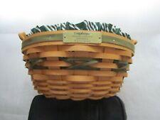 Longaberger Christmas Collection 1999 Edition Popcorn Basket Combo Green Stripe