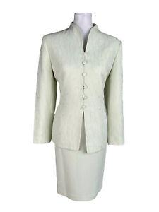 KASPER Women 2PC Light Green Polyester Blend Embroidered Skirt Suit Size 10P