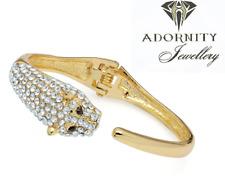 Ladies Gold Colour Crystal Lion Design Hinge Bangle Trending UK SELLER