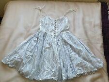 Vintage Topshop x Kate Moss White Pinstripe Summer Dress - Size 10