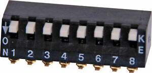 8 Way Tiny Piano SMD DIP Switch Gold Plated Contacts and Pins