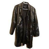Womens Black Lapel Leather-Look Coat Trench Jacket Long Overcoat Loose Outwear