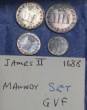 More details for 1688 james ii maundy set 4d,3d,2d,1d silver coins collectable gvf uncased m688