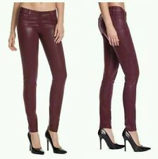 GUESS BRITTNEY SKINNY LEG RED ROUGE WINE BURGUNDY COATED WASH JEANS 24