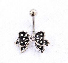 New Polka Dot Bow Stainless Steel Black White Belly Bar Navel Piercing Jewellery