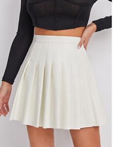 NEW skirt,white,fake Leather,pu,short,tennis,pleated,shein