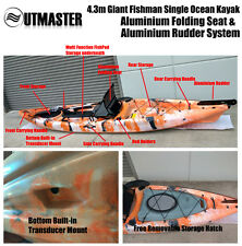4.3m Ocean Fishing Kayak Siton Canoe Rod Holder Folding Seat Rudder Transducer