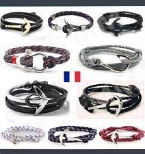 Bracelet Ancre Marine Anchor Homme Femme Mixte Réglable Gourmette Mode