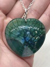 "Geode Agate Druzy Crystal Tibetan Silver 18"" Necklace D-1339"