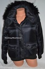 Abercrombie & Fitch by Hollister Womens Puffer Jacket Coat Black Faux Fur S NWT