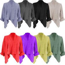 Womens Italian Lagenlook Linen Waterfall Crop Buckle Shrug Ladies Blazer Jacket