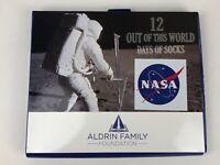 Mens NASA 12 Days of Socks Aldrin Foundation Damaged Box Sock Size 10-13