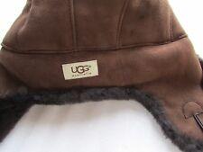 UGG Hat Aviator Shearling Chocolate Bailey Button O/S NEW