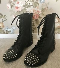 Express Studded Combat Boots, Black Leather/Silver studs. Size 7.5