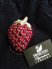 Swarovski Strawberry Pin Brooch Signed - New