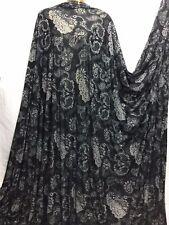 Stretch Viscose Jersey Black Burnout Paisley Dress/Craft/Abaya Fabric*FREE P&P*