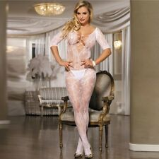 Sexy Bodystocking Flower in White 8 10 12  RBM Very Sexy Fishnet with Pattern