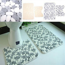 Soft Cotton 2Pieces Bath Pedestal Mat Toilet Non Slip Washable Floor Rugs Set KW
