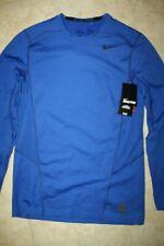 NIKE Men's Pro Combat Hyperwarm Fitted Training Shirt NWT Blue SIZE: LARGE