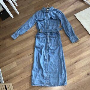 H&M Trend Denim Shirt Dress Midi Belt 32 4 6 XS
