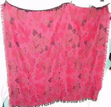 """Scarf Wrap Huge 52"""" x 54"""" Italy Acrylic Pink Red Floral Bright Fringe Shawl"""