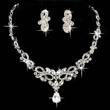 Bridal Wedding Bride Party Rhinestone Necklace Earring Pendant Chain Jewelry Set