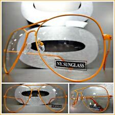CLASSIC VINTAGE RETRO Style Clear Lens EYE GLASSES Orange Metal Fashion Frame
