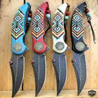 """8.25"""" Native American Indian Feather Tactical Spring Open Assisted Pocket Knife"""