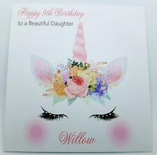 Personalised Birthday Card, Unicorn Face Handmade Daughter, Granddaughter, Niece