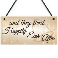 And They Lived Happily Ever After Hanging Wedding Day Plaque Table Decor Sign