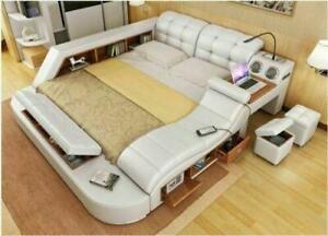 Real Genuine leather bed frame Sofa Modern Soft Beds Home Bedroom Furniture New
