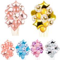 14Pcs Birthday Wedding Baby shower Party Star Heart Foil Confetti Latex Balloons