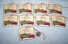Christmas~Primitive~Country~Truck~Merry & Bright~Linen Cardstock~Gift~Hang~Tags