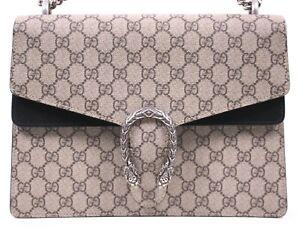 GUCCI $2,590 GG Supreme & Black Suede Medium DIONYSUS Shoulder Bag