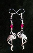 Flamingo bird dangle earrings tropical hawaiian handmade