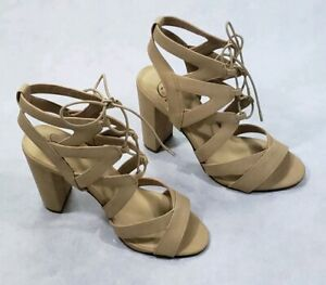 Delicious Womens Sandal Size 7 Tan Beige Lace Up Chunky high heel open toe